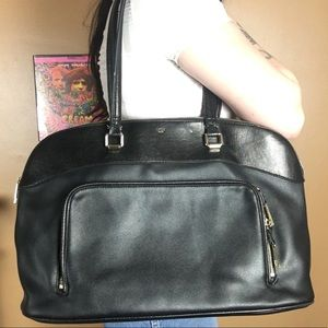 TUTILO / Black Leather Laptop Bag